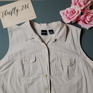 [Vintage] Erika 3X Sleeveless Button Front Shirt